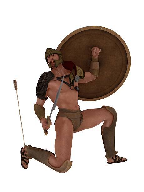 Achilles falls with an arrow in his heel stock photo
