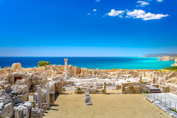 Achilles' House Kourio Basilica at The Sanctuary of Apollo at the Kourion World Heritage Archaeological site near Limassol (Lemesos), Cyprus stock photo