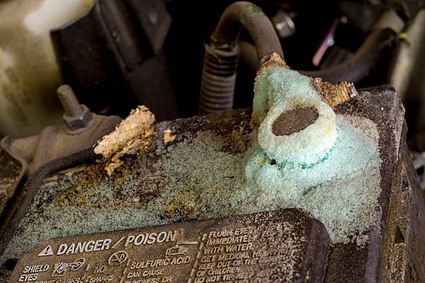 Acid and corrosion on a car battery stock photo
