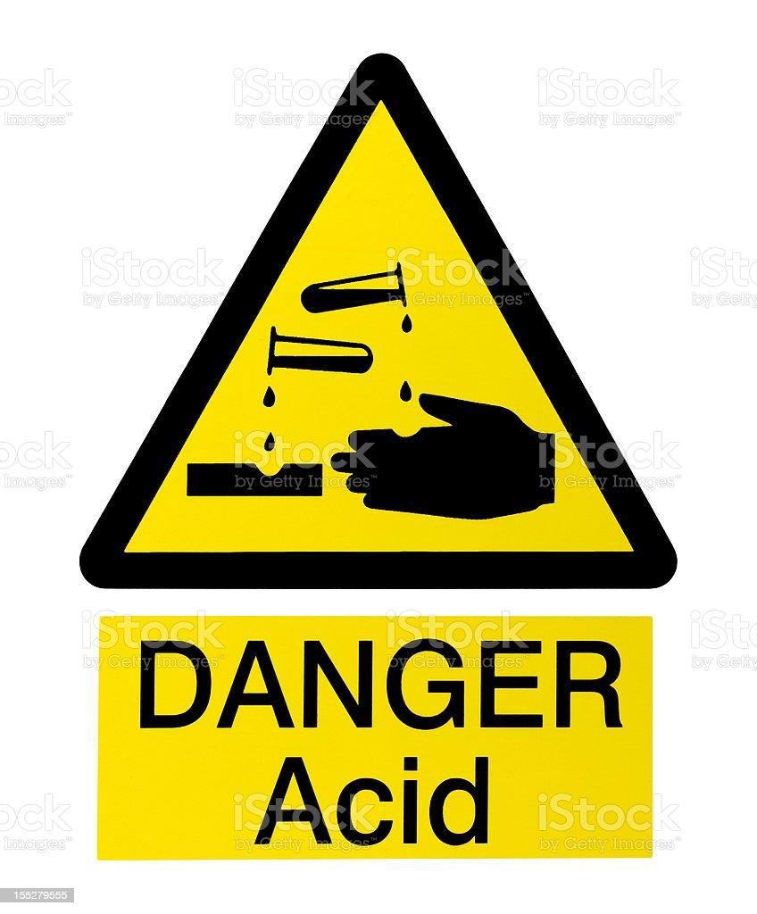 Acid Danger Sign on White royalty-free stock photo