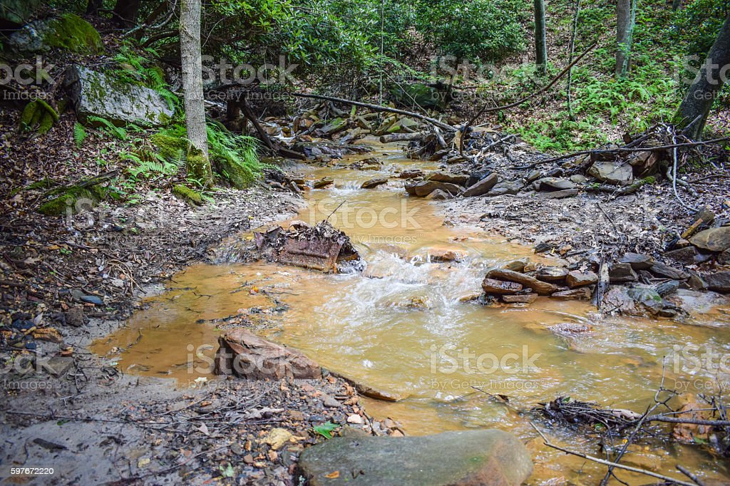 Acid Mine Drainage in the Appalachian Mountains. stock photo