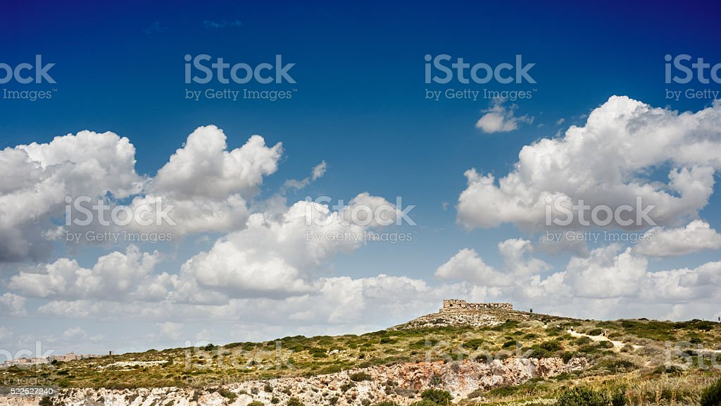 acient fortress with blue sky stock photo