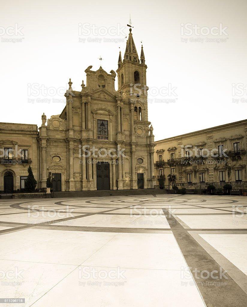 Acireale Duomo e Piazza del Duomo, Provincia di Catania - foto stock