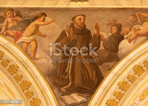 Acireale - The fresco of Stigmatization of St. Francis of Assisi in Duomo by Giuseppe Sciuti.