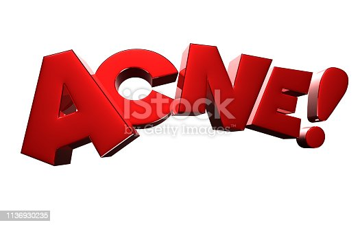istock Acne 3D rendering on white background .With Clipping Path. 1136930235