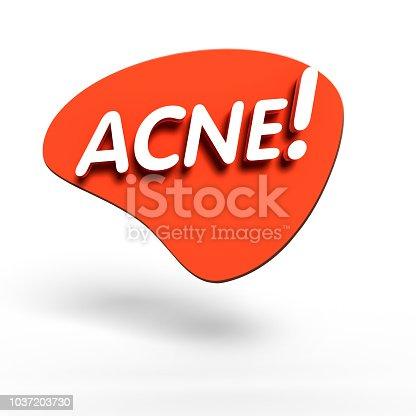 istock 3D acne white text. 1037203730