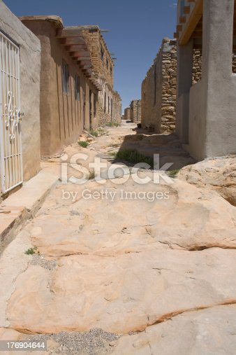 View of street at Acoma Pueblo in New Mexico.