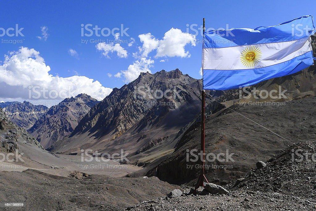 Aconcagua - Flag in the top stock photo