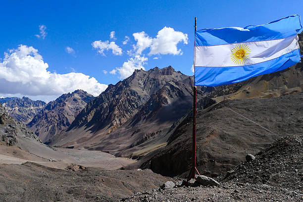 Aconcagua - Flag in the top stock photo