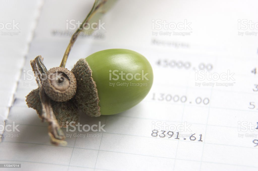 Acorn (on side) and savings growth concept stock photo