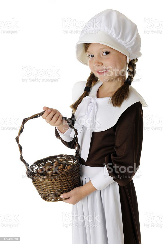 Acorn Collecting Pilgrim stock photo