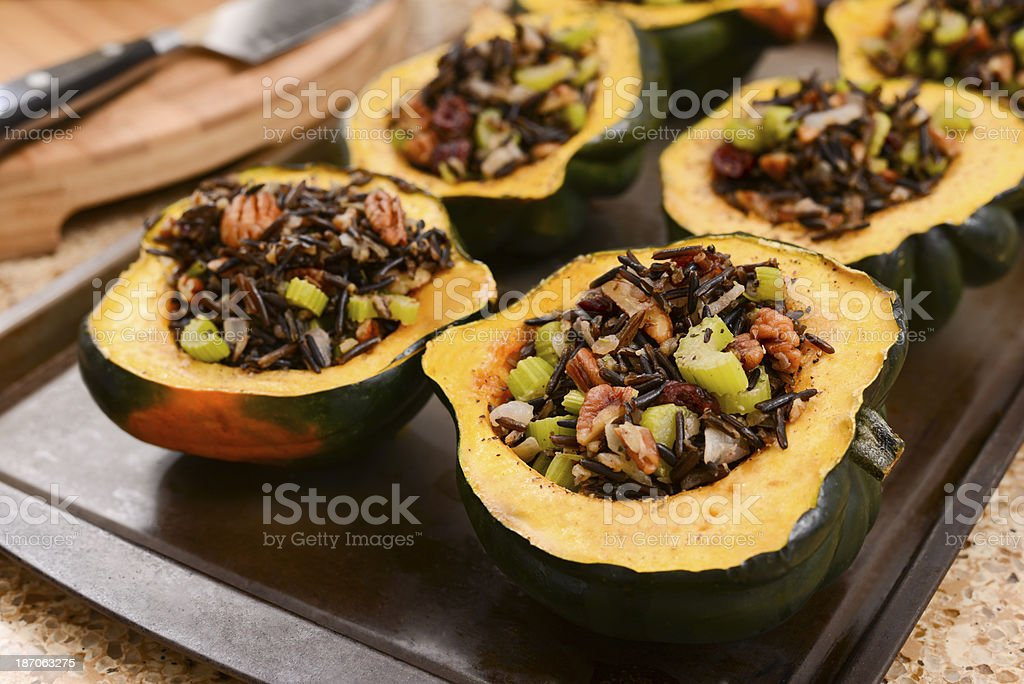 Acorn Squash Stuffed with Wild Rice stock photo