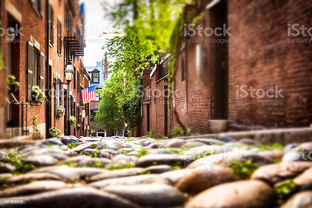 Acorn Street at Boston stock photo