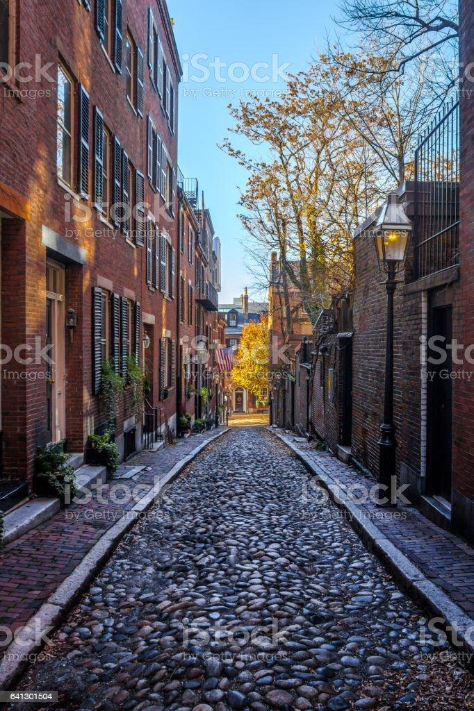 Acorn Street - Boston, Massachusetts, USA stock photo