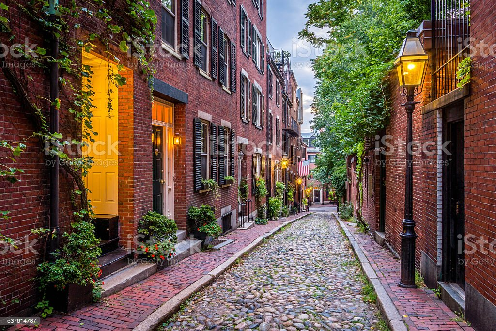 Acorn Street, Boston stock photo