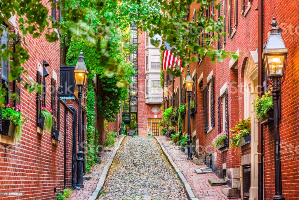 Acorn Street Boston stock photo