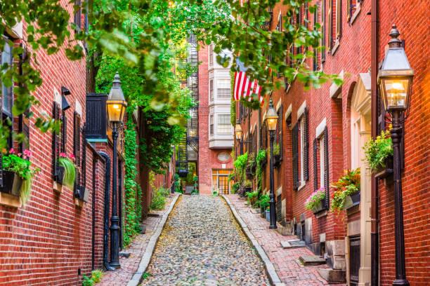 acorn straat boston - massachusetts stockfoto's en -beelden
