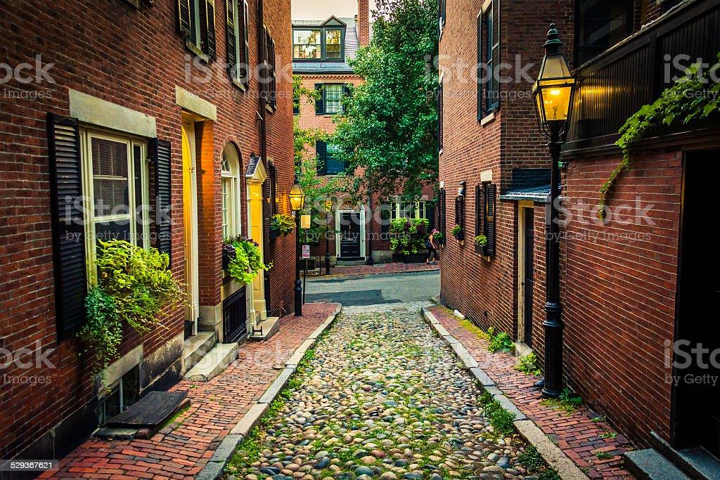 Acorn Street, in Beacon Hill, Boston, Massachusetts. stock photo