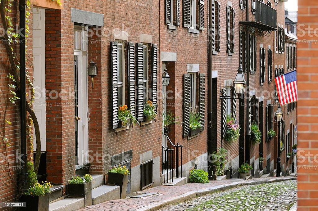 Acorn Street in Beacon Hill, Boston stock photo