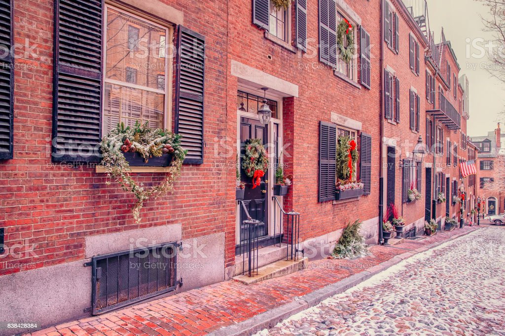 Acorn street in Boston on Christmas stock photo
