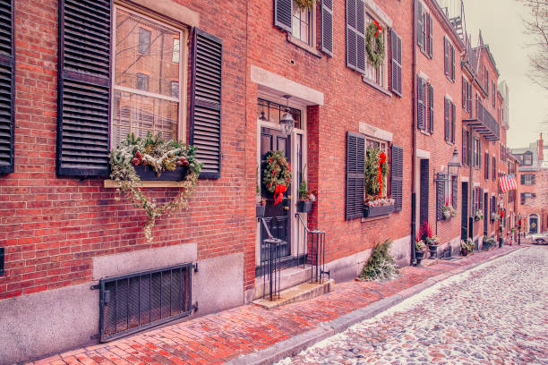 Acorn street in Boston on Christmas stock photo