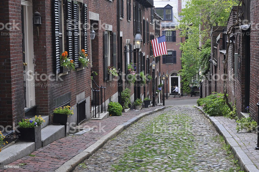Acorn Street in Boston stock photo