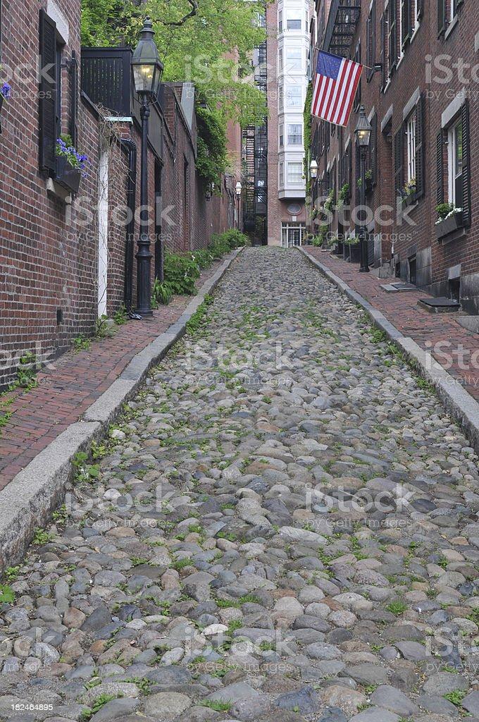 Acorn Street in Boston royalty-free stock photo