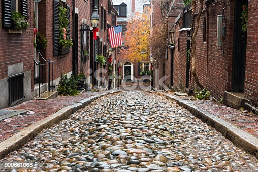 The historic and famous Acorn Street in Boston