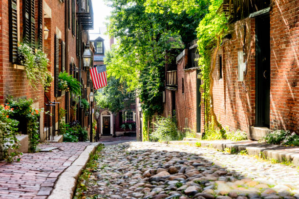 Acorn Street, typical street of Boston stock photo