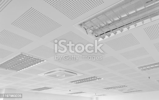 acoustic ceiling with lighting and air condition, black and white tone, industry construction concept background