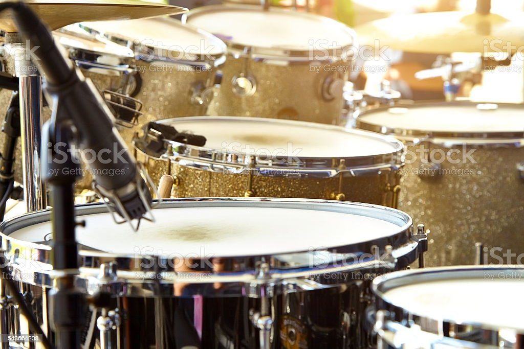 Acoustic drum set on stage before the concert stock photo