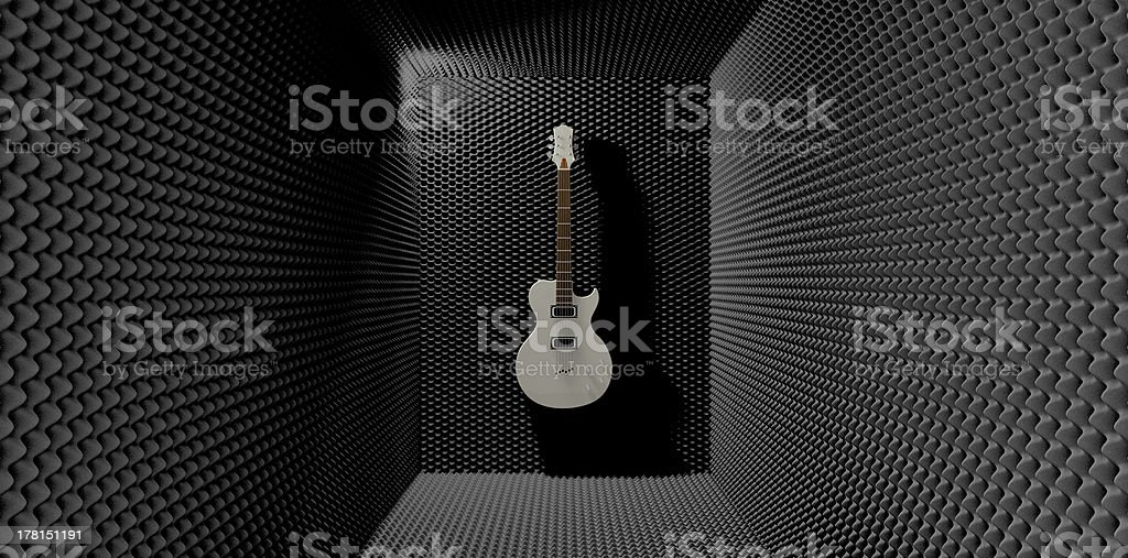Acoustic Foam Room With Mounted Electric Guitar royalty-free stock photo