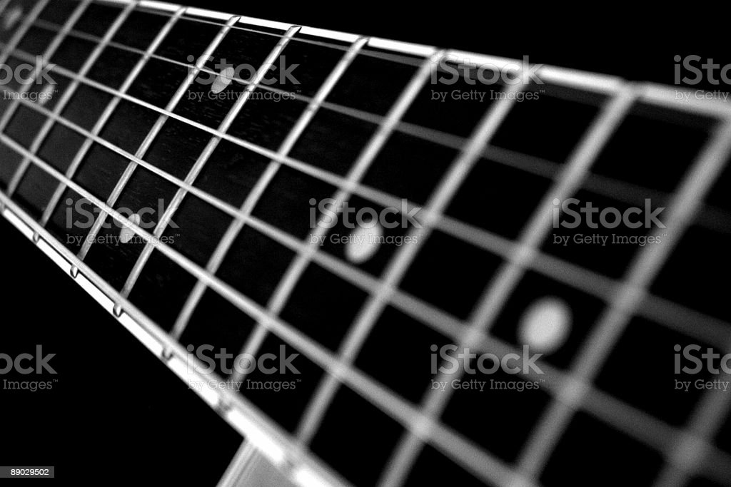 B&W Acoustic Fretboard royalty-free stock photo