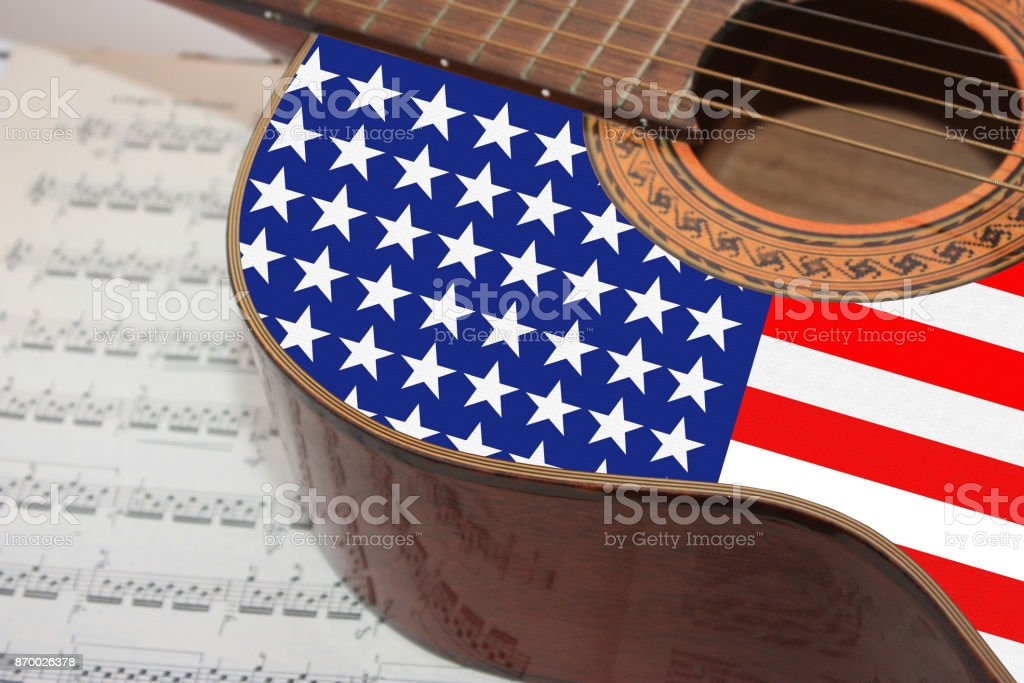 Acoustic guitar  American music stock photo