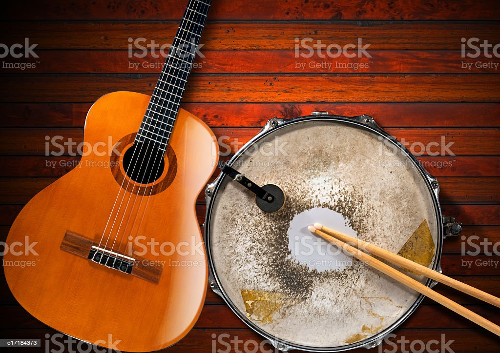Acoustic Guitar and Old Snare Drum stock photo