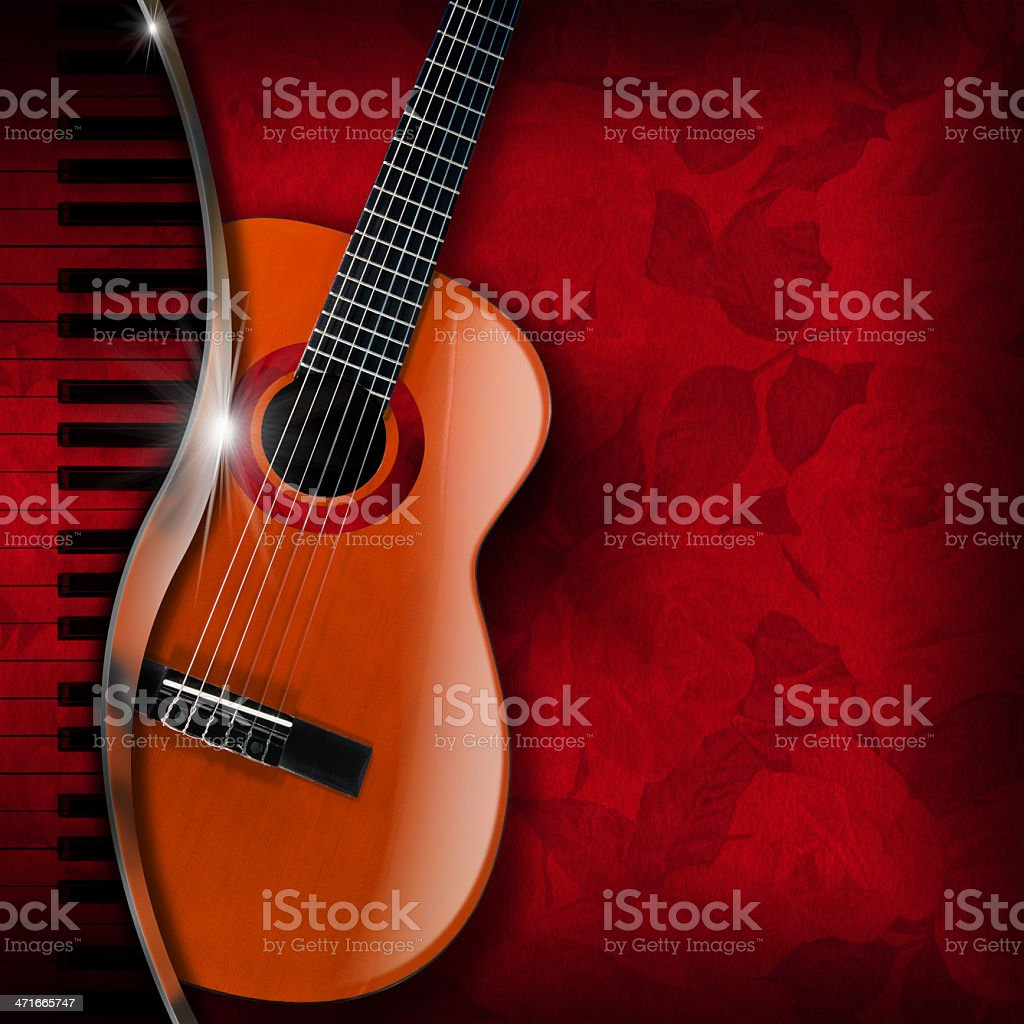 Acoustic Guitar and Piano Red Flowers stock photo