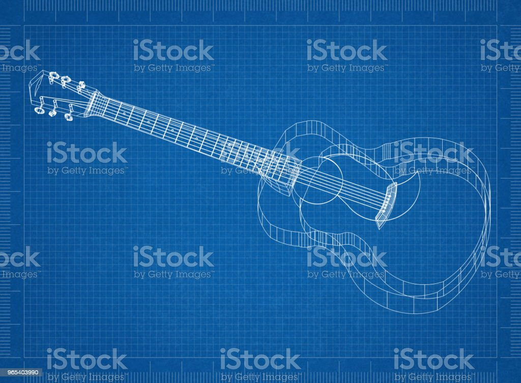 Acoustic guitar Architect blueprint royalty-free stock photo