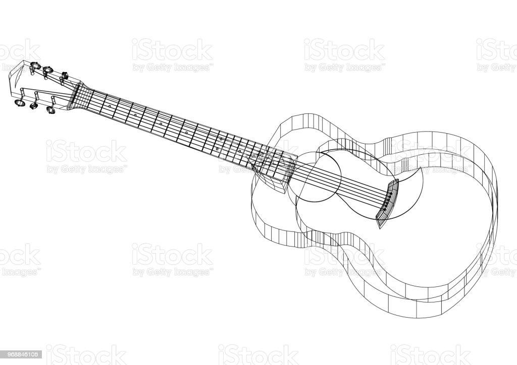 Acoustic guitar Architect blueprint stock photo