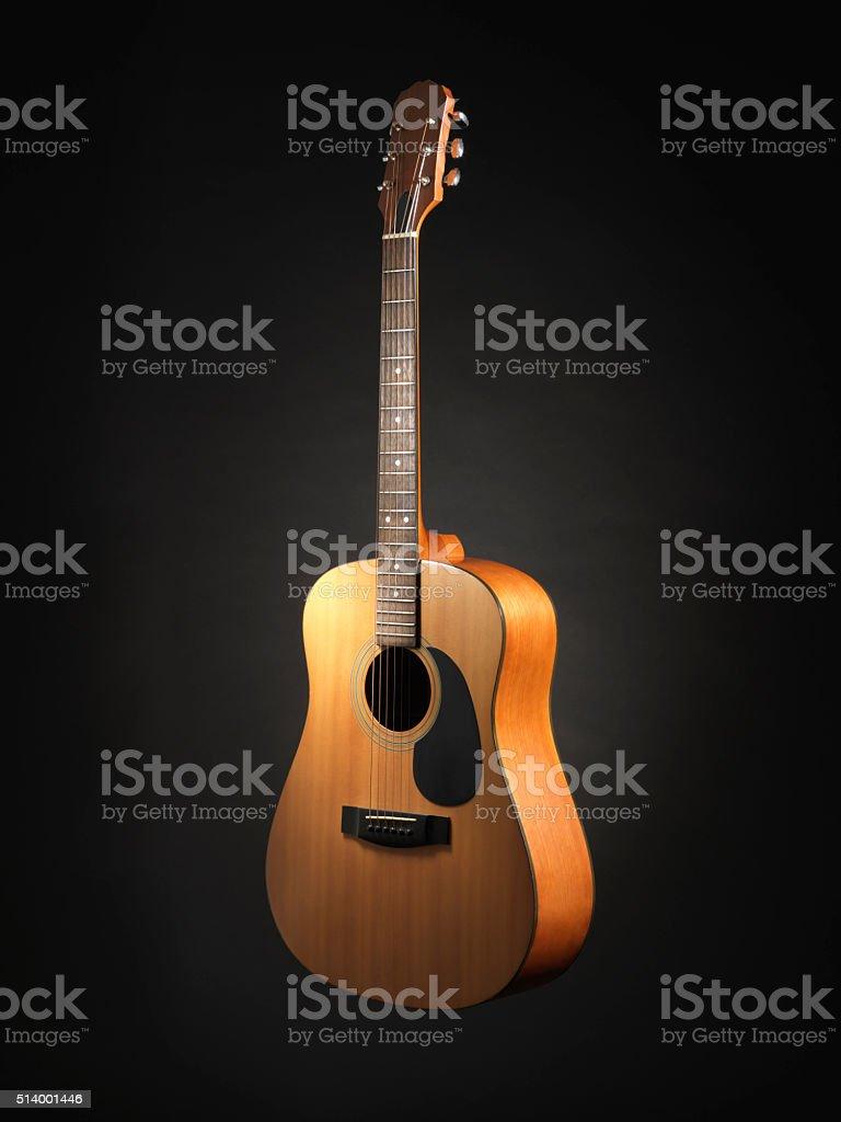 Acoustic Guitar Black Background - Stock Image stock photo