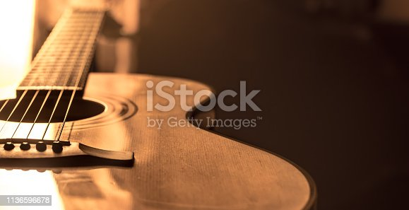 acoustic guitar close-up on a beautiful colored background, the concept of stringed instruments