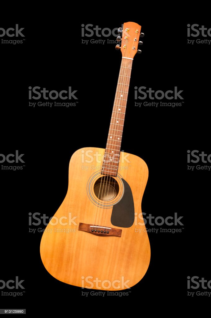 Acoustic Guitar Cut Out On Black Background Stock Photo More