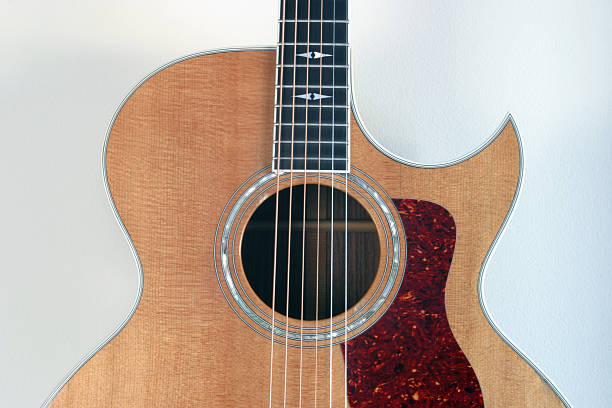 Acoustic guitar detail stock photo