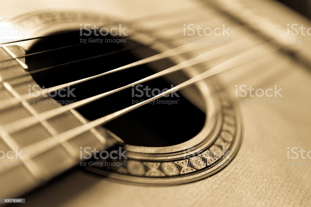 Acoustic Guitar focus to Rosette stock photo