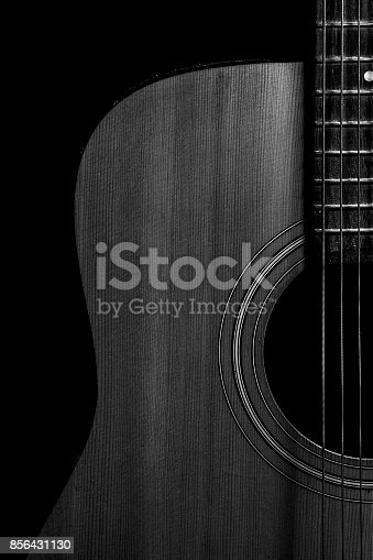 istock Acoustic guitar in black and white 856431130