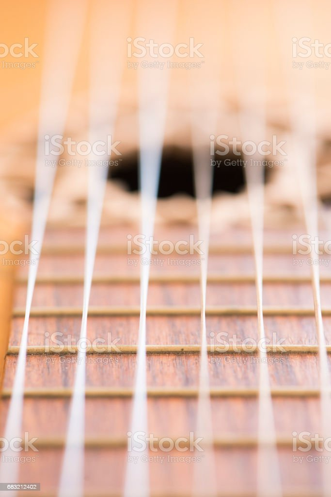 Acoustic guitar in close up 免版稅 stock photo