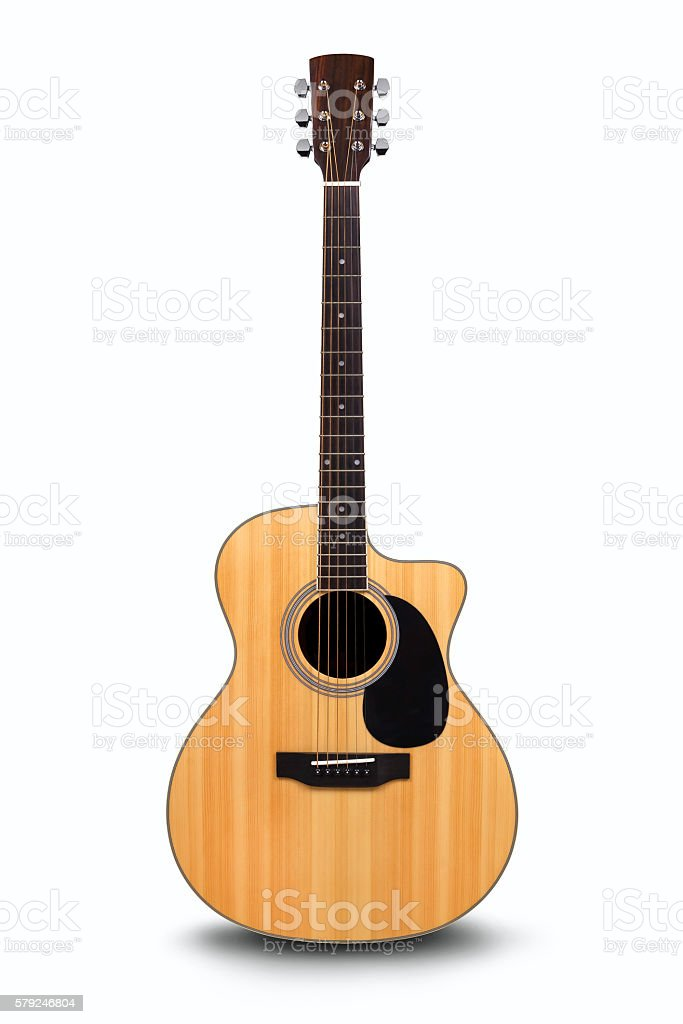 Acoustic guitar is isolated on the white stock photo