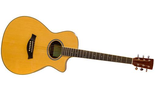 Akustische Gitarre Isoliert Auf Weißem Hintergrund Stockfoto und mehr Bilder von Ahorn