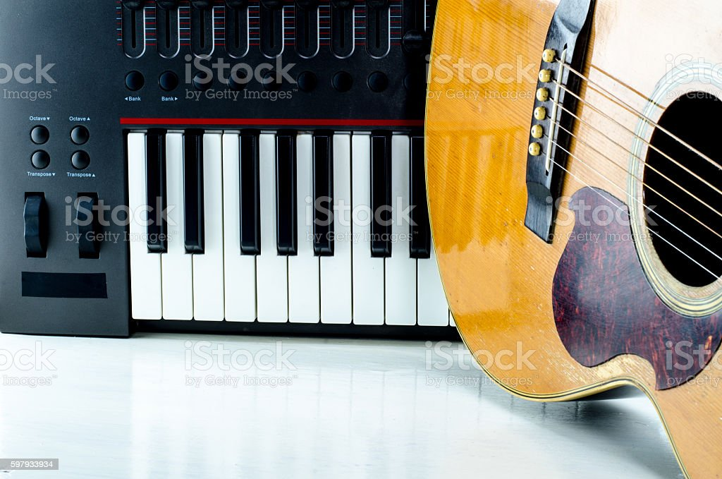 Acoustic guitar keyboard close-up. stock photo