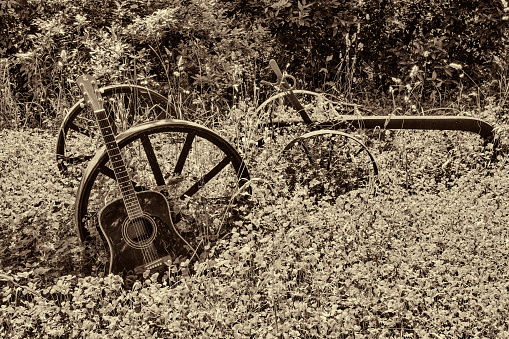 istock acoustic guitar lying on a meadow and plow, vintage style with copy space 968905988