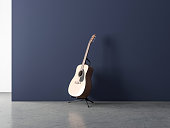 Acoustic Guitar Mockup on Stand in empty room
